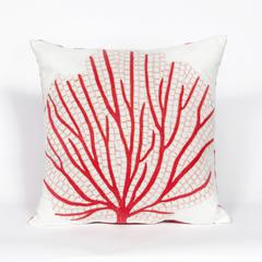 """Liora Manne Visions III Coral Fan Indoor/Outdoor Pillow Orange 20"""" Square"""