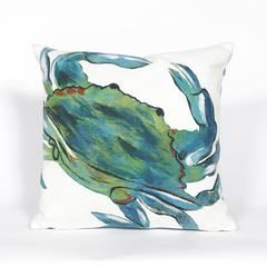 """Liora Manne Visions III Blue Crab Indoor/Outdoor Pillow Blue 20"""" Square"""