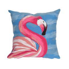 "Liora Manne Visions III Flamingo Indoor/Outdoor Pillow Blue 20"" Square"