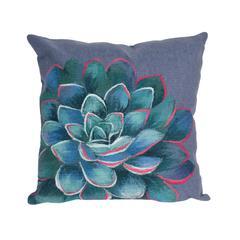 "Liora Manne Visions III Succulent Indoor/Outdoor Pillow Blue 20"" Square"