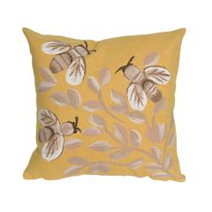 """Liora Manne Visions III Bees Indoor/Outdoor Pillow Gold 20"""" Square"""