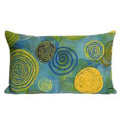 "Liora Manne Visions III Graffiti Swirl Indoor/Outdoor Pillow Blue 12""X20"""