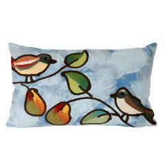 """Liora Manne Visions III Song Birds Indoor/Outdoor Pillow Blue 12""""X20"""""""