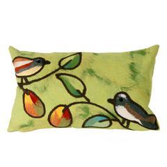 """Liora Manne Visions III Song Birds Indoor/Outdoor Pillow Green 12""""X20"""""""
