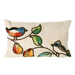 "Liora Manne Visions III Song Birds Indoor/Outdoor Pillow Ivory 12""X20"""