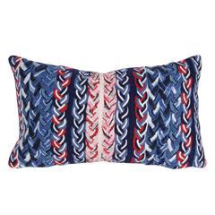 "Liora Manne Visions III Braided Stripe Indoor/Outdoor Pillow Navy 12""X20"""