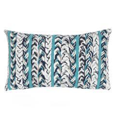 "Liora Manne Visions III Braided Stripe Indoor/Outdoor Pillow Blue 12""X20"""