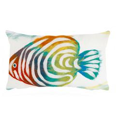 "Liora Manne Visions III Rainbow Fish Indoor/Outdoor Pillow Green 12""X20"""