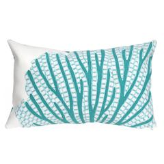 """Liora Manne Visions III Coral Fan Indoor/Outdoor Pillow Blue 12""""X20"""""""