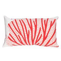 "Liora Manne Visions III Coral Fan Indoor/Outdoor Pillow Orange 12""X20"""
