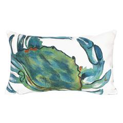 """Liora Manne Visions III Blue Crab Indoor/Outdoor Pillow Blue 12""""X20"""""""