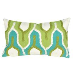 """Liora Manne Visions III Crochet Tower Indoor/Outdoor Pillow Green 12""""X20"""""""
