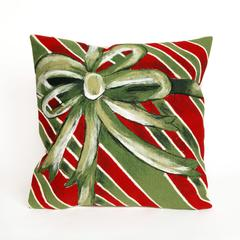 """Liora Manne Visions III Gift Box Indoor/Outdoor Pillow Green 20"""" Square"""