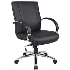 Aaria Collection Elektra Mid Back Executive Chair / Chrome Finish / Black Upholstery/ Knee Tilt