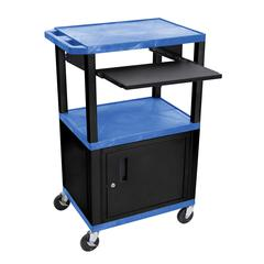 42 in A/V Cart - 3 Shelves, Cab, Pullout - Blue