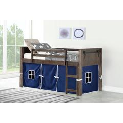 Twin Barn Door Low Loft W/Blue Tent