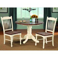 """British Isles 26"""" - 42"""" Round Double Drop-Leaf Dining Table, Merlot-Buttermilk Finish"""
