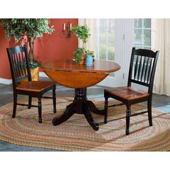 "British Isles 26"" - 42"" Round Double Drop-Leaf Dining Table, Oak-Black Finish"
