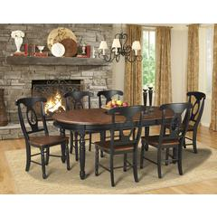 "British Isles 52"" - 76"" Oval Dining Table with (2) 12"" Leaves, Oak-Black Finish"
