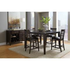 "Bristol Point 36"" - 54"" Square Gathering Height Table with 18"" Butterfly Leaf, Warm Grey Finish"