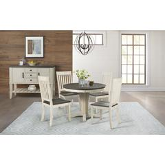 """Huron 42"""" - 60"""" Table Top with (1) 18"""" Leaf - Cocoa-Chalk Finish"""