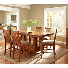 """Laurelhurst 72"""" Rectangular Gathering Height Table, with 16"""" Butterfly Leaf, Mission Oak Finish"""
