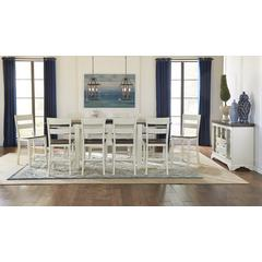 """Mariposa 100"""" Gathering Height Leg Table, with (2) 18"""" Butterfly Leaves, Cocoa-Chalk Finish"""