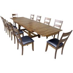 "Mariposa 132"" Trestle Table, with (3) 18"" Butterfly Leaves, Rustic Whiskey Finish"