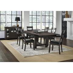 "Mariposa 132"" Trestle Table, with (3) 18"" Butterfly Leaves, Warm Grey Finish"