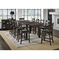 """Mariposa 100"""" Gathering Height Leg Table, with (2) 18"""" Butterfly Leaves, Warm Grey Finish"""