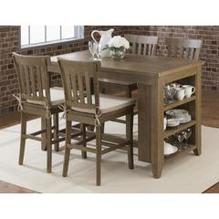 Slater Mill Counter Height Table with 3 Shelf Storage