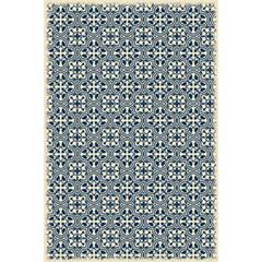Modern European Design - Size Rug: 4ft x 6ft blue & white color with a weather aged finish