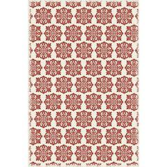Modern European Design - Size Rug: 4ft x 6ft red & white color with a weather aged finish