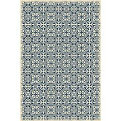 Quad European Design - Size Rug: 4ft x 6ft blue & white color with a weather aged finish