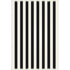 Strips of European Design - Size Rug: 5ft x 7ft black & white colors with a weather aged finish