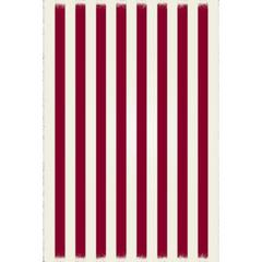 Strips of European Design - Size Rug: 4ft x 6ft red & white colors with a weather aged finish