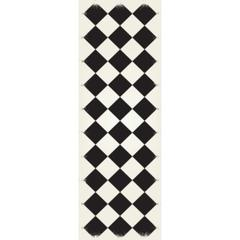 Diamond European Design - Size Rug: 2ft x 6ft black & white colors with a weather aged finish