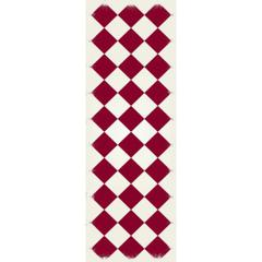 Diamond European Design - Size Rug: 2ft x 6ft red & white colors with a weather aged finish