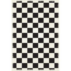 English Checker Design - Size Rug: 4ft x 6ft black & white colors with a weather aged finish