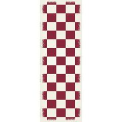 English Checker Design - Size Rug: 2ft x 6ft red & white colors with a weather aged finish