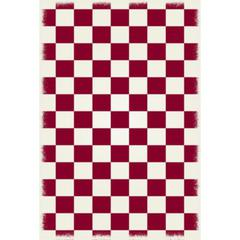 English Checker Design - Size Rug: 4ft x 6ft red & white colors with a weather aged finish