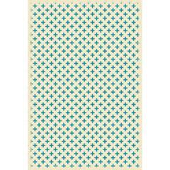 Elegant Cross Design- Size Rug: 4ft x 6ft teal & white colors