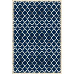 Quaterfoil Design- Size Rug: 4ft x 6ft blue & white