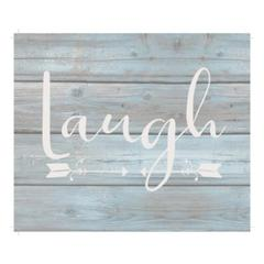 "Wall Signage - Laugh - Wash out Grey background 10"" x 12"""