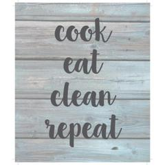 "Wall Signage - Cook eat clean repeat - Wash out Grey background 10"" x 12"""