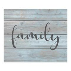 "Wall Signage - Family - Wash out Grey background 10"" x 12"""