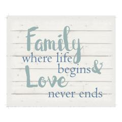 "Wall Signage - Family where life begins & love never ends - White background 10"" x 12"""