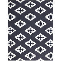 Zara 24 Ebony Flat-Weave Area Rug 2'x3'