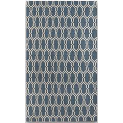 Zara 9 Blue Flat-Weave Area Rug 5'x8'