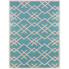 Zara 58 Turquoise Flat-Weave Area Rug 8'x10'